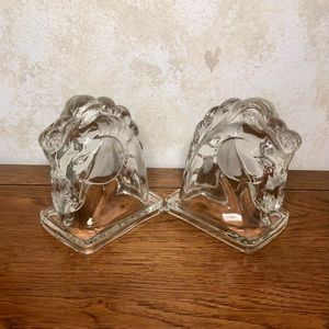 Federal pressed glass horse head book ends